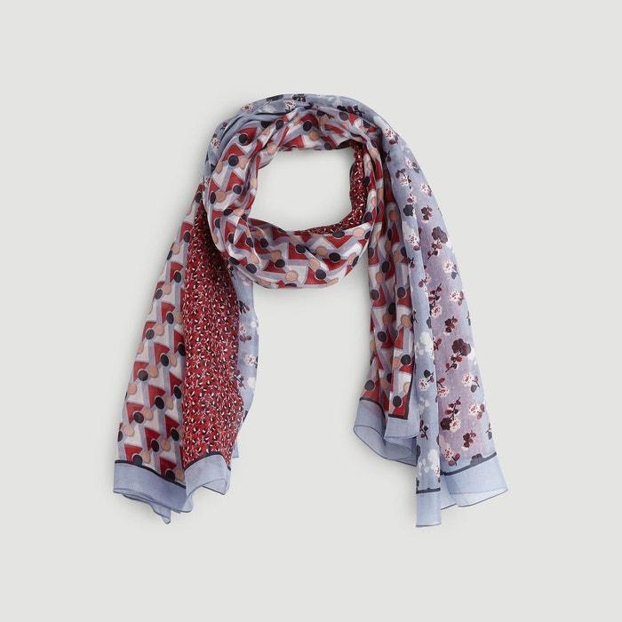 e9a4e98b326f Etole en soie imprimé patchwork et fleurs gris Monoprix   La Redoute