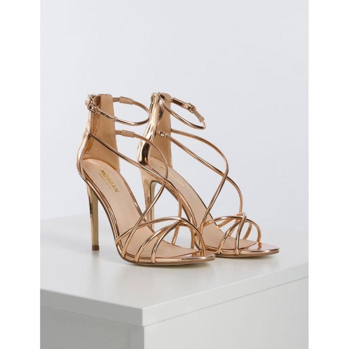 Sandales brides métallisées rose Morgan