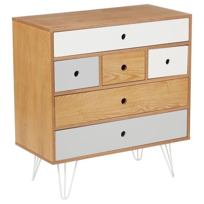 commode 6 tiroirs shulg bois naturel marron atmosphera la redoute. Black Bedroom Furniture Sets. Home Design Ideas