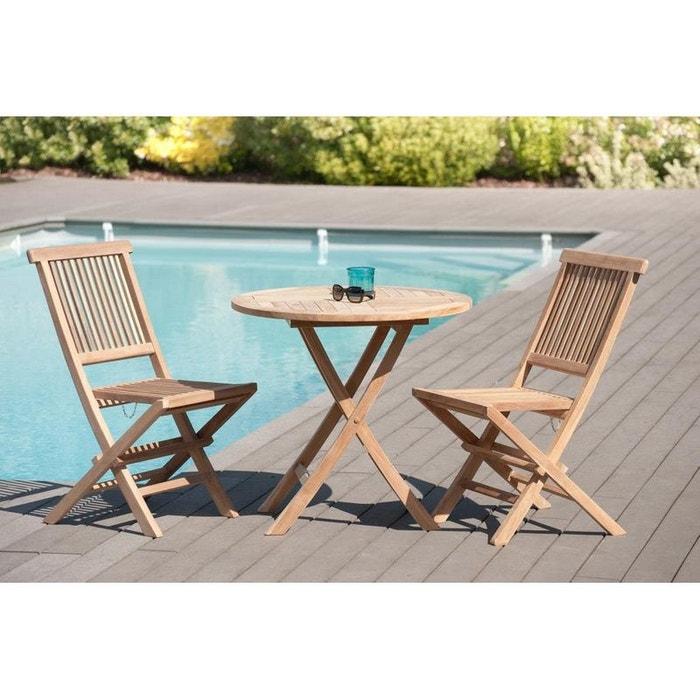 Salon de jardin table d\'extérieur ronde pliante 80cm 2 chaises pliantes en  bois de teck SUMMER
