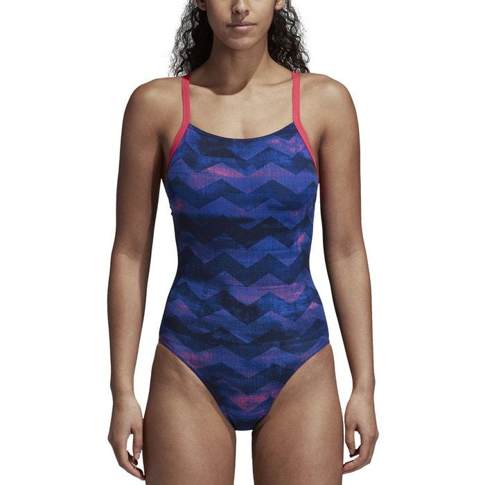 e5a8b9ec1e833 Maillot de bain 1 pièce piscine imprimé bleu foncé rose Adidas Performance    La Redoute