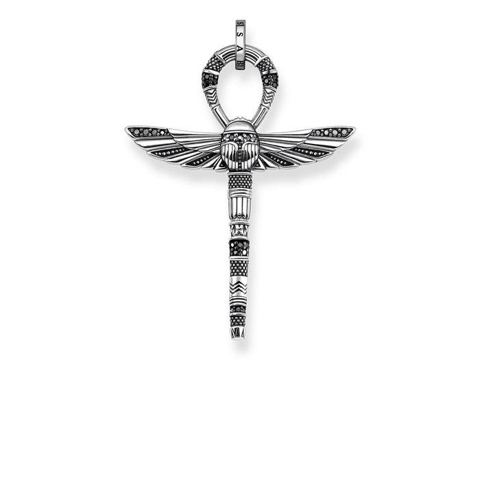 Pendentif croix de vie ankh avec scarabée argenté/noir Thomas Sabo | La Redoute Meilleur Achat VNELY