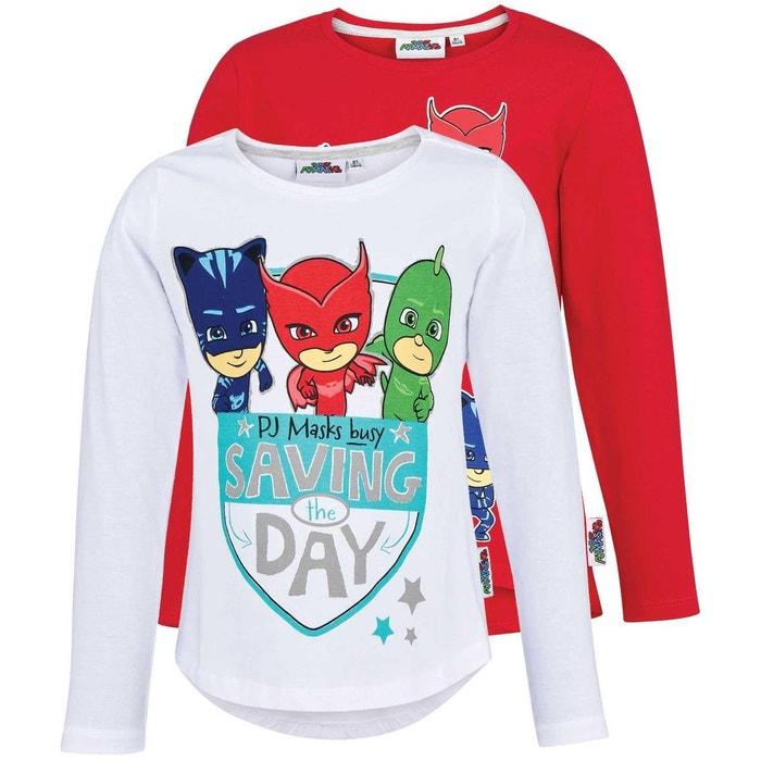24965425ac460 Tee-shirt manches longues   lot de 2 paires rouge Les Pyjamasques   La  Redoute