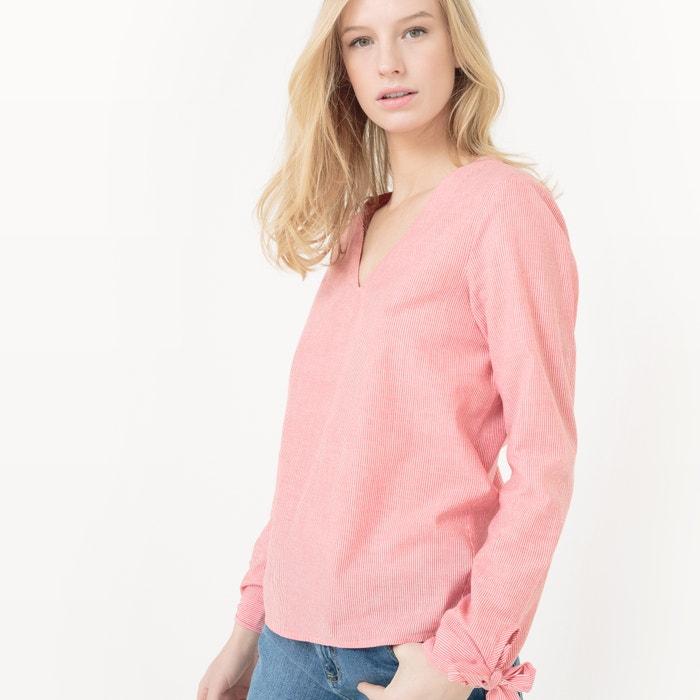 afbeelding Gestreepte blouse met V-hals VERO MODA