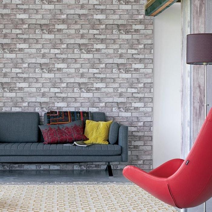 Vtwonen papier peint intissé backstein gris 10m x 52cm mur briques ...