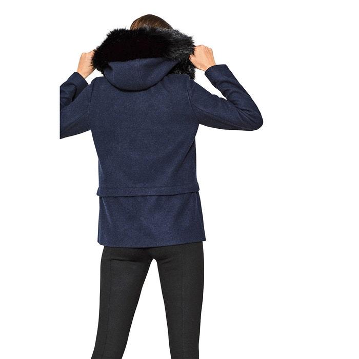 Abrigo mujer con capucha con contorno de pelo sint azul marino ESPRIT ba5870c1c66d