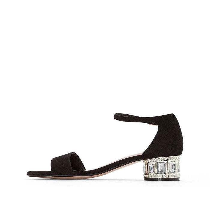 Sandales cuir petit talon monika noir Dune London
