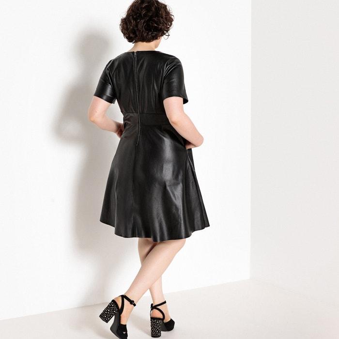de de 233;tica estilo Vestido CASTALUNA corta semilargo patinadora sint manga piel ZxPP7R