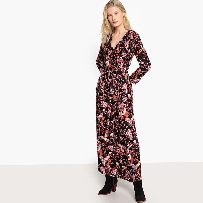 e8dbe8318c2a Robe longue croisée devant avec ceinture à nouer imprimé fleur noir Vila    La Redoute