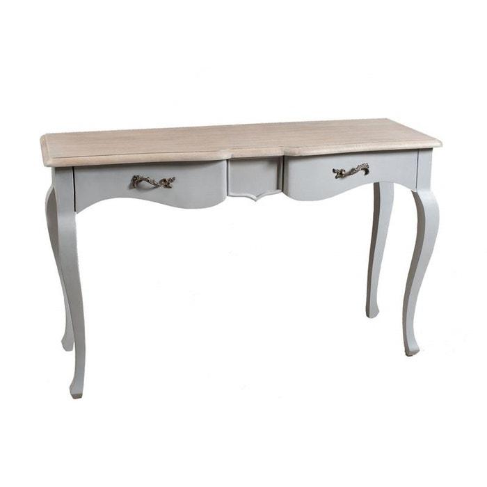 console 2 tiroirs gris clair 125cm odyssee gris clair plateau bois c rus pier import la redoute. Black Bedroom Furniture Sets. Home Design Ideas