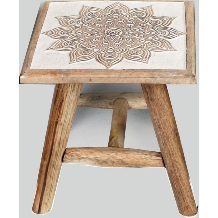 Tabouret / Table d'appoint en bois blanchi sculpté motif rosaces 25x25x25cm - Modèle selon disponibilité PIER IMPORT
