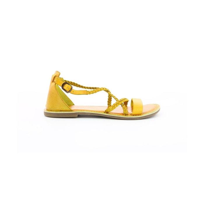 Sandales cuir femme divague jaune Kickers