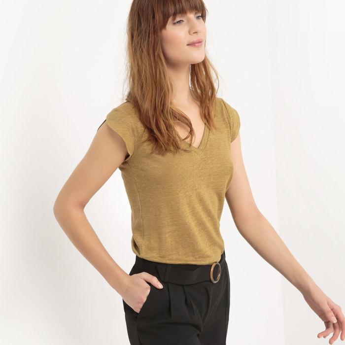 afbeelding T-shirt met V-hals in linnen atelier R