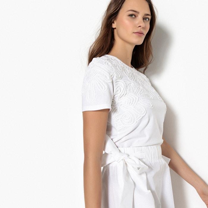 T-shirt ricamo davanti, scollo rotondo, maniche corte  La Redoute Collections image 0