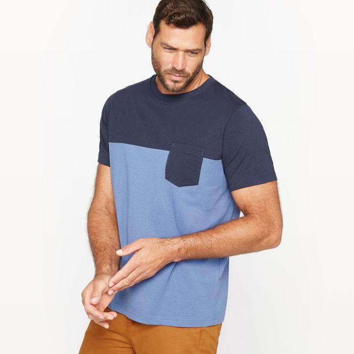 Image T-shirt dwukolorowy z czystej bawełny, kieszeń na piersi CASTALUNA FOR MEN