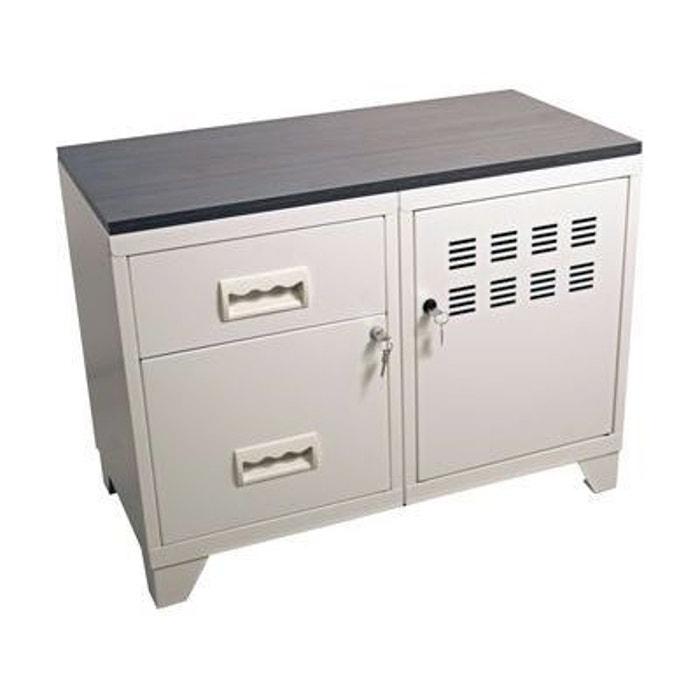 Meuble rangement m tal 1 porte 2 tiroirs pierre henry la for Bureau fer et bois