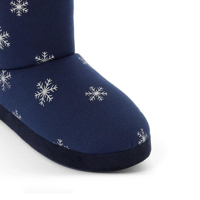 Chaussons boots fourrés bleu imprimé La Redoute Collections