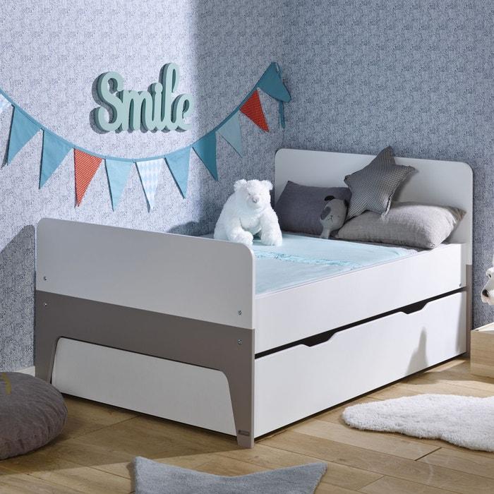 pack lit volutif tiroir matelas 90x140 190 celeste blanc lin blanc lin alfred et compagnie. Black Bedroom Furniture Sets. Home Design Ideas