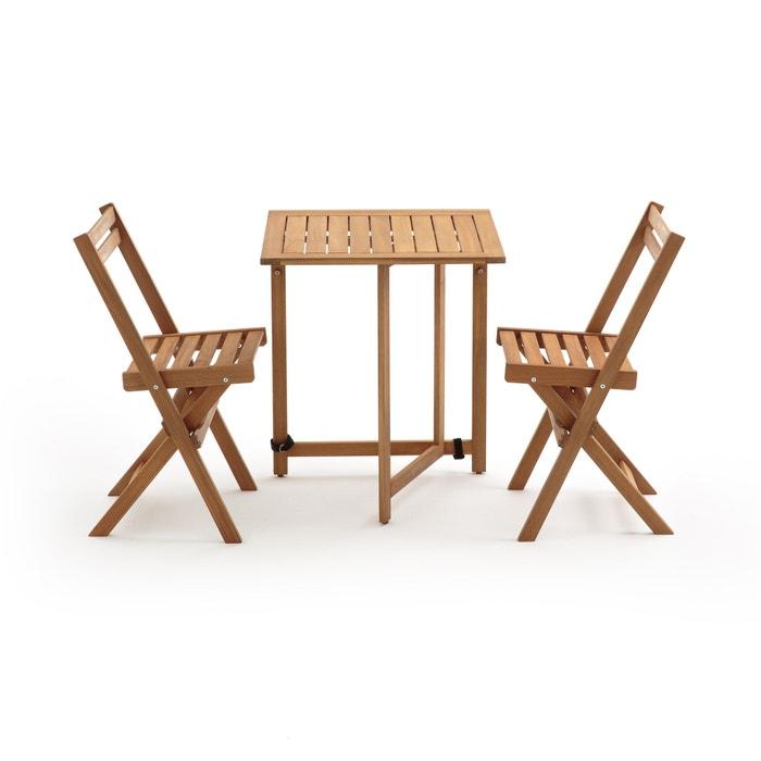 Sensational Garden 3 Piece Acacia Outdoor Folding Table Chairs Set Evergreenethics Interior Chair Design Evergreenethicsorg
