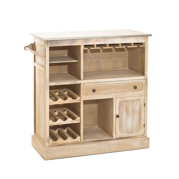 meuble bar bois patin zinc 109x46x106cm sandra pier import image 0