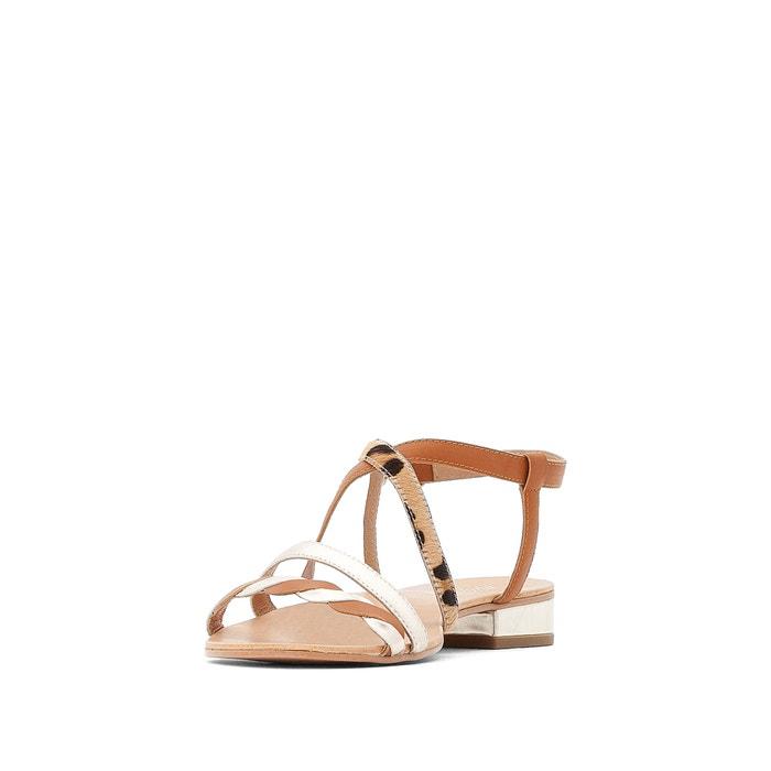 3d6b5e656 Wide fit leather leopard print cross-strap flat sandals , leopard  print/camel, CASTALUNA PLUS SIZE