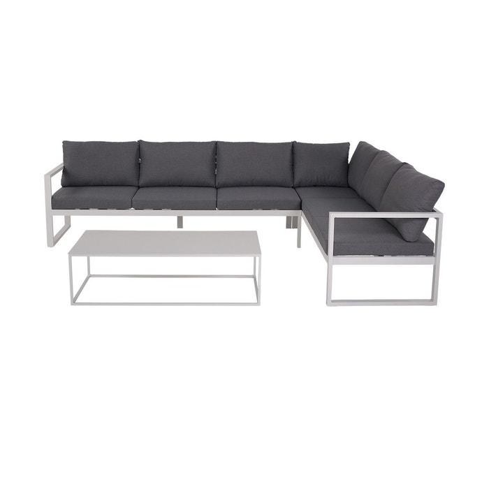 Salon de jardin zurich gris en alu gris et blanc Rotin Design | La ...