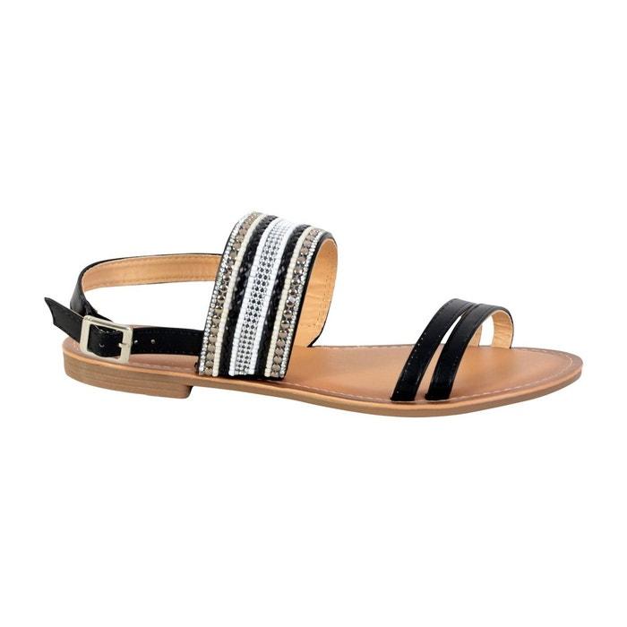 Sandale plate noir Enza Nucci