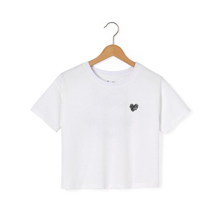 afbeelding Verkort T-shirt met print achteraan La Redoute Collections