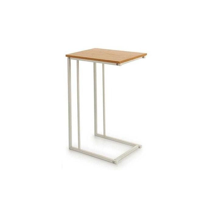 Table D Appoint Bout De Canape Metal Blanc Et Bois Blanc Wadiga