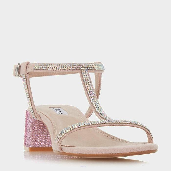 Sandales style salomé à mi-talons carrés ornées de strass - maae  rose pâle micro fibre Dune London  La Redoute
