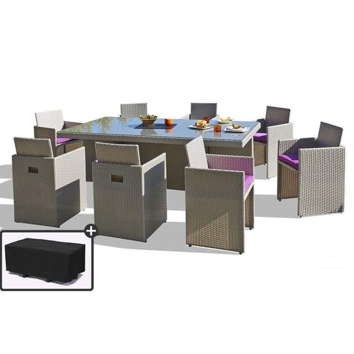 Salon de jardin avec 8 fauteuils encastrables et housse de protection gris le reve chez vous for Fauteuil salon de jardin la redoute