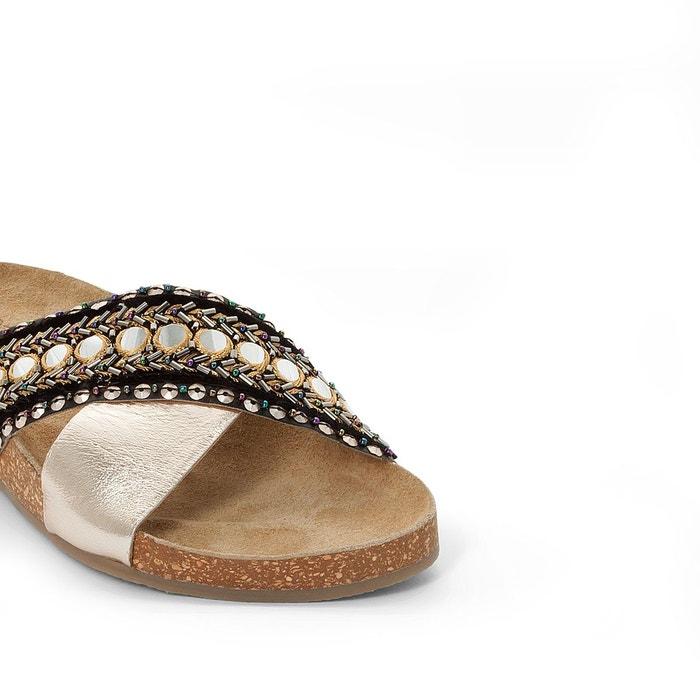 Mules cuir détail perles doré La Redoute Collections