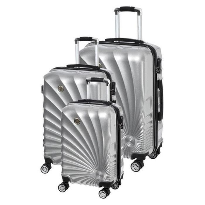 pas mal 6340b 8d05b MANOUKIAN Set de 3 Valises Chariot Rigide ABS et Polycarbonate 4 Roues  55-65-75cm MANOUKIAN 32 Silver