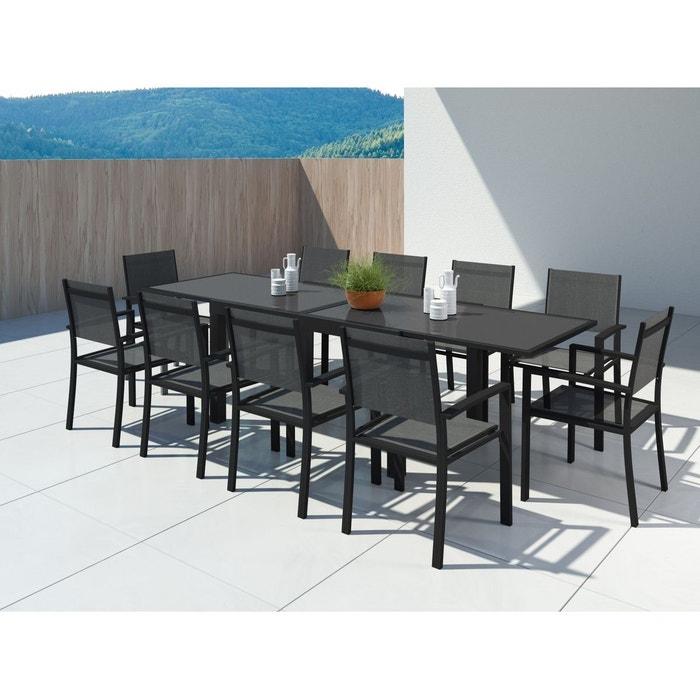 Table de jardin extensible aluminium 140/280cm + 10 fauteuils textilène -  HARA XL