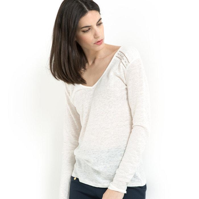 afbeelding T-shirt in zuiver linnen met V-hals en lange mouwen LAURA CLEMENT