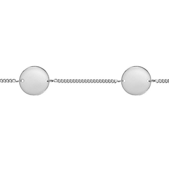 Bracelet longueur réglable: 17,5 à 20 cm identité chaîne gourmette 2 plaques rondes argent 925 couleur unique So Chic Bijoux | La Redoute