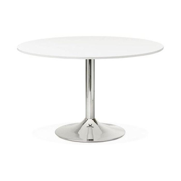 table ronde avec plateau en bois blanc et pied en m tal. Black Bedroom Furniture Sets. Home Design Ideas