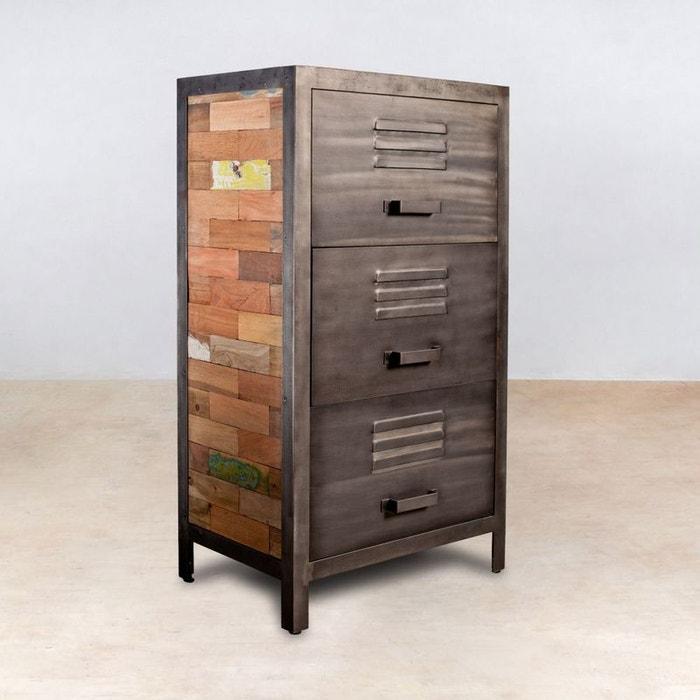 meuble de rangement bois recycl 3 tiroirs m tal 60x40x110cm caravelle bois pier import la redoute. Black Bedroom Furniture Sets. Home Design Ideas