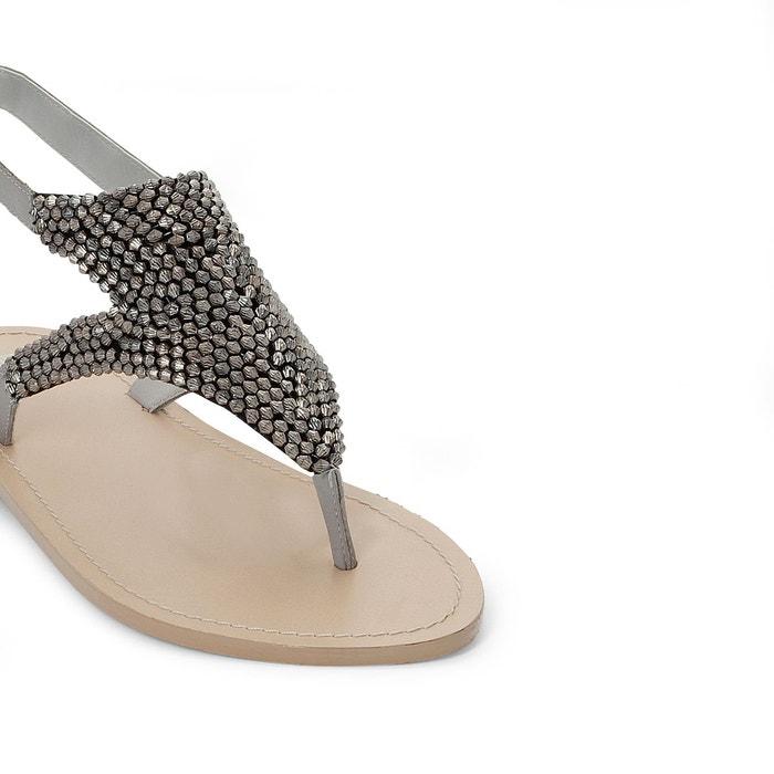 Sandales entre-droigts détail perles gris La Redoute Collections