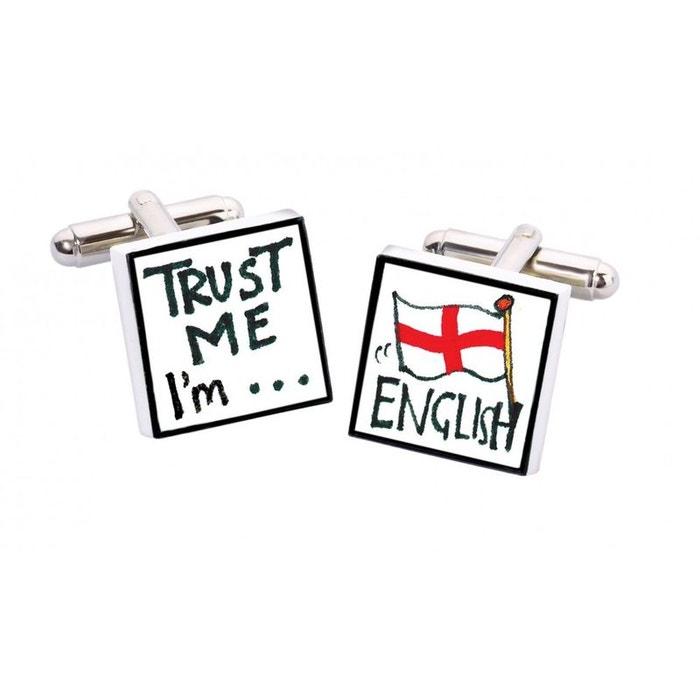 Bouton de manchette trust me i'm english, bone china blanc Sonia Spencer | La Redoute