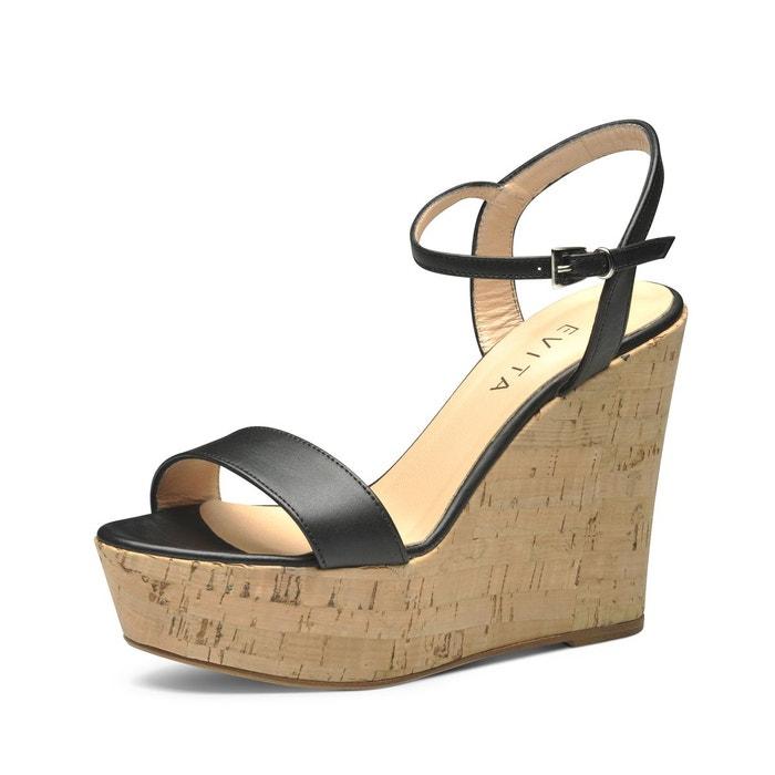 Sandales au talon compensé  noir Evita  La Redoute