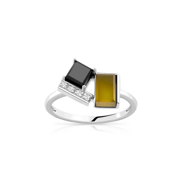 bague or blanc pierre fine