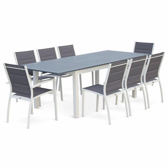 Salon de jardin Chicago 8 places table à rallonge extensible 175/245cm alu  textilène