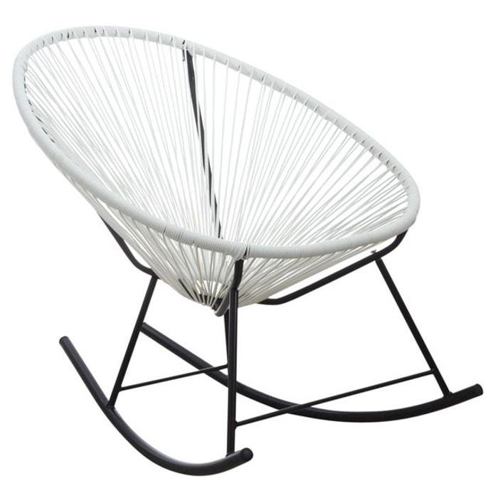 fauteuil bascule en polyr sine blanc noir aubry gaspard. Black Bedroom Furniture Sets. Home Design Ideas