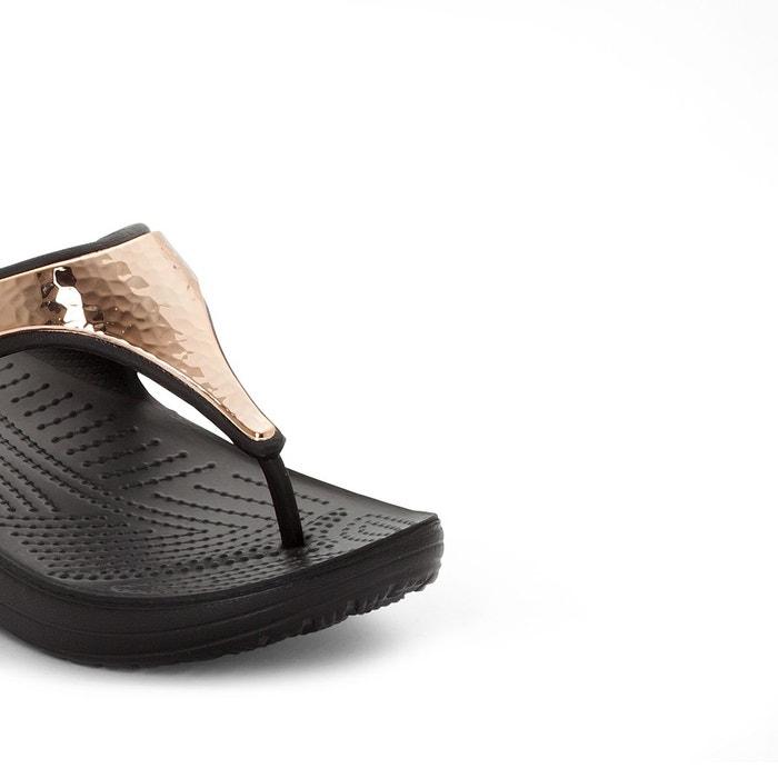 Tongs compensées sloane hammered met flip w noir-or rose Crocs