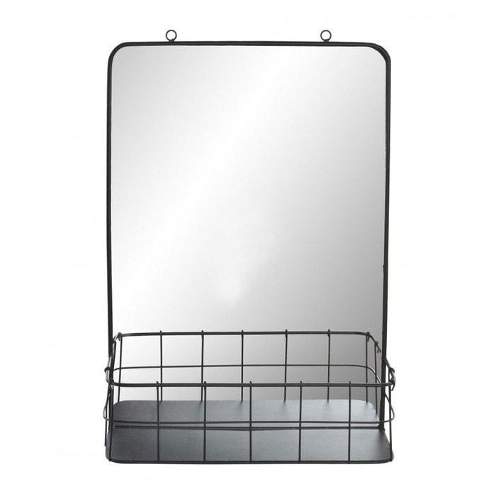 Miroir Mural Métal Noir Avec étagère