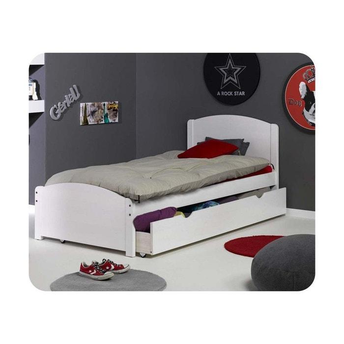 Pack lit enfant nature 90x190 cm avec sommier et matelas for Deco chambre enfant avec achat matelas latex 90x190