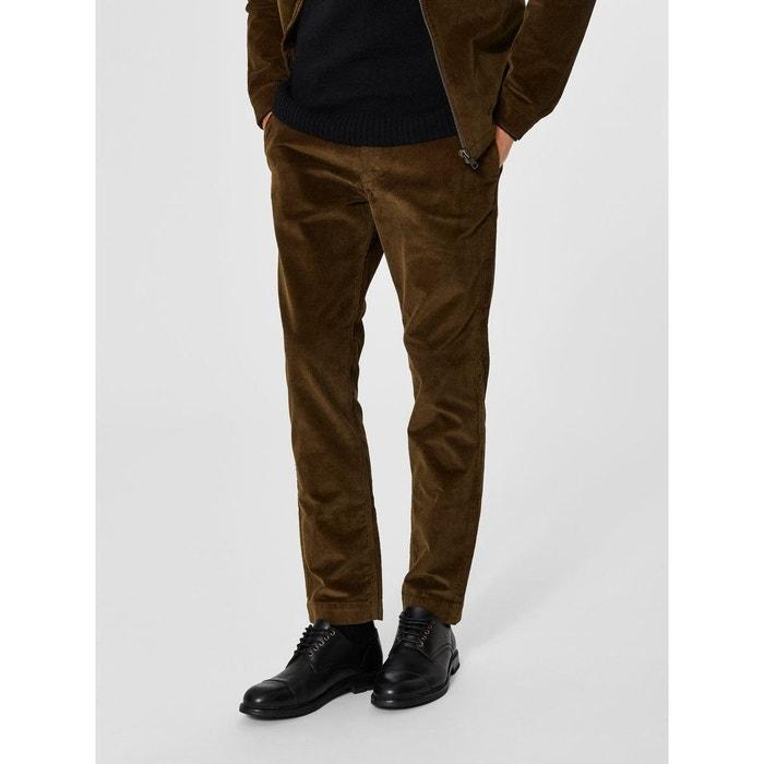 pantalon velours c tel marron dark green selected homme. Black Bedroom Furniture Sets. Home Design Ideas