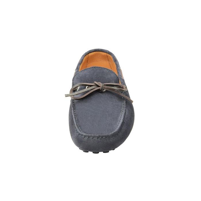 Mocassins en cuir velours bleu bleu foncé Shoepassion