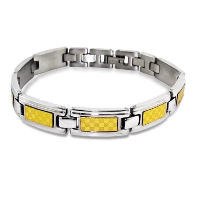 Bracelet homme 21 cm maillons bicolore doré acier inoxydable couleur unique So Chic Bijoux | La Redoute Magasin De Sortie Pas Cher CTEtI7Q